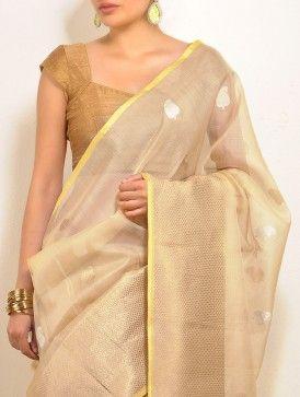 Gold Paisley Kota-Silk Saree
