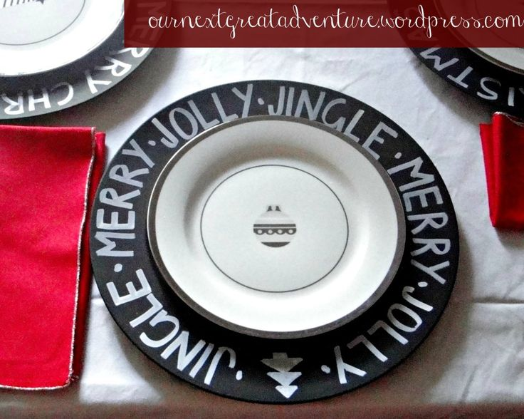 Paint inexpensive chargers with chalkboard paint, then decorate with chalk or chalk pens