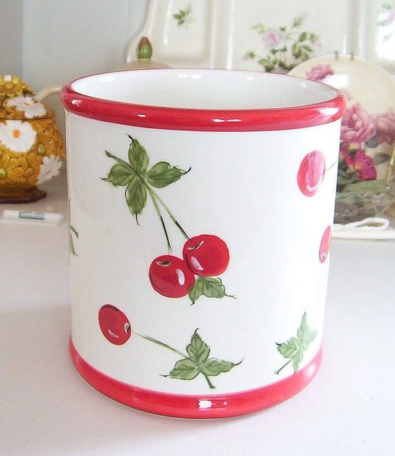 Retro Style Ceramic Cherry Utensil Jar