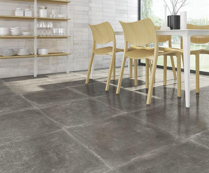 ARCANA Tiles   Tempo-SPR Antracita 59,3x59,3 cm.   Cordusio Blanco 33,3x100 cm.   kitchen   interiordesign #outdoor #indoor