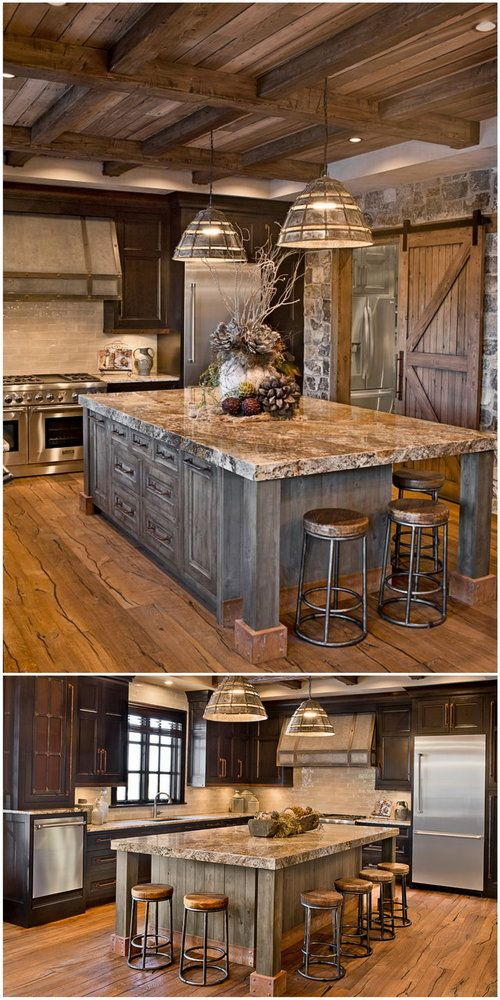 This oversized island features a built-up granite top, rustic metal accents and inset doors.