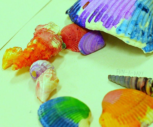 Shell Painting Creates Beautiful Ocean Art for Kids - Fun-A-Day!