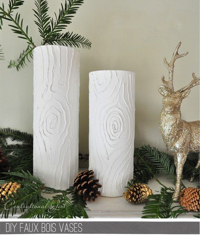 faux bois candles and or jars use puff paint for tree. Black Bedroom Furniture Sets. Home Design Ideas