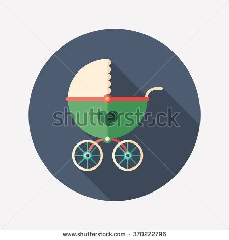 Retro baby stroller flat round icon with long shadows. #love #loveillustration #flaticons #vectoricons #flatdesign