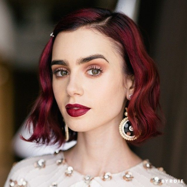 Loving the way Lily Collins looks with red hair and bold brows