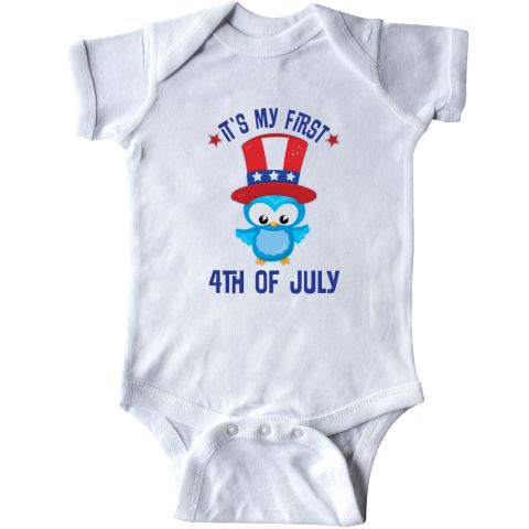#Celebrate #baby's #1st #Independence #Day with this adorable baby #owl Infant Creeper with It's my #First #4th of #July holiday slogan.  #Patriotic #red, #white and #blue.  www.inktastic.com