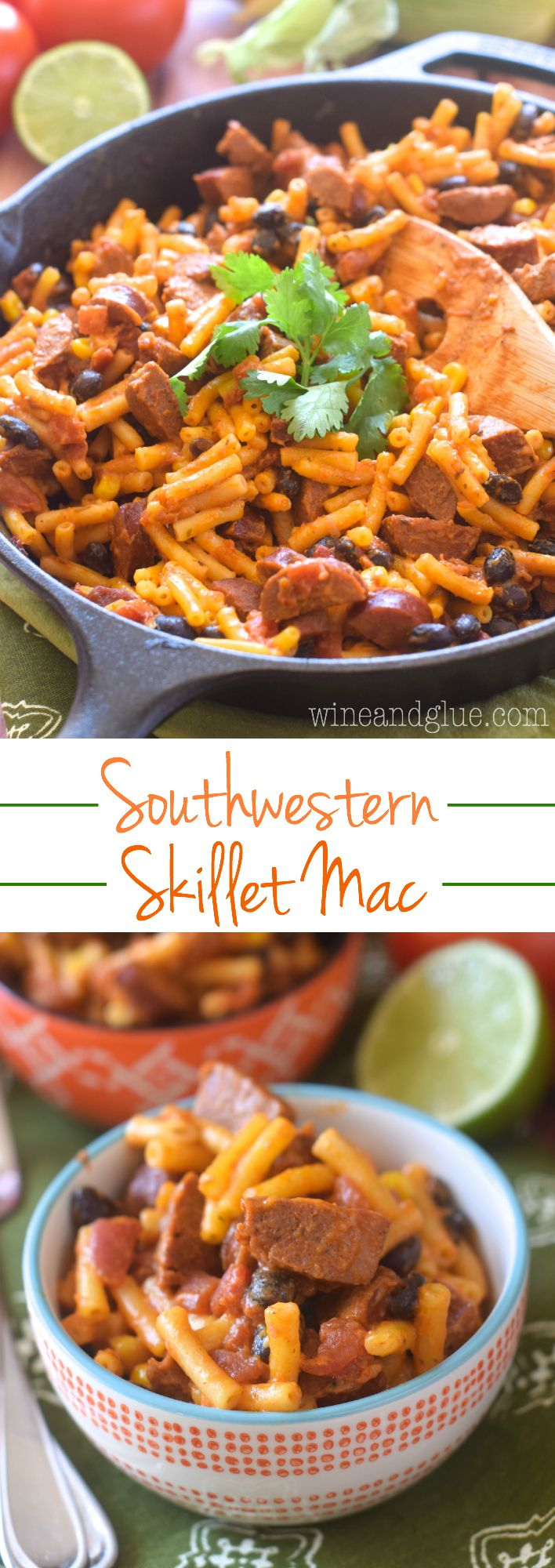 This Southwestern Skillet Mac is such an easy weeknight dinner and packed with flavor! Just FIVE ingredients!