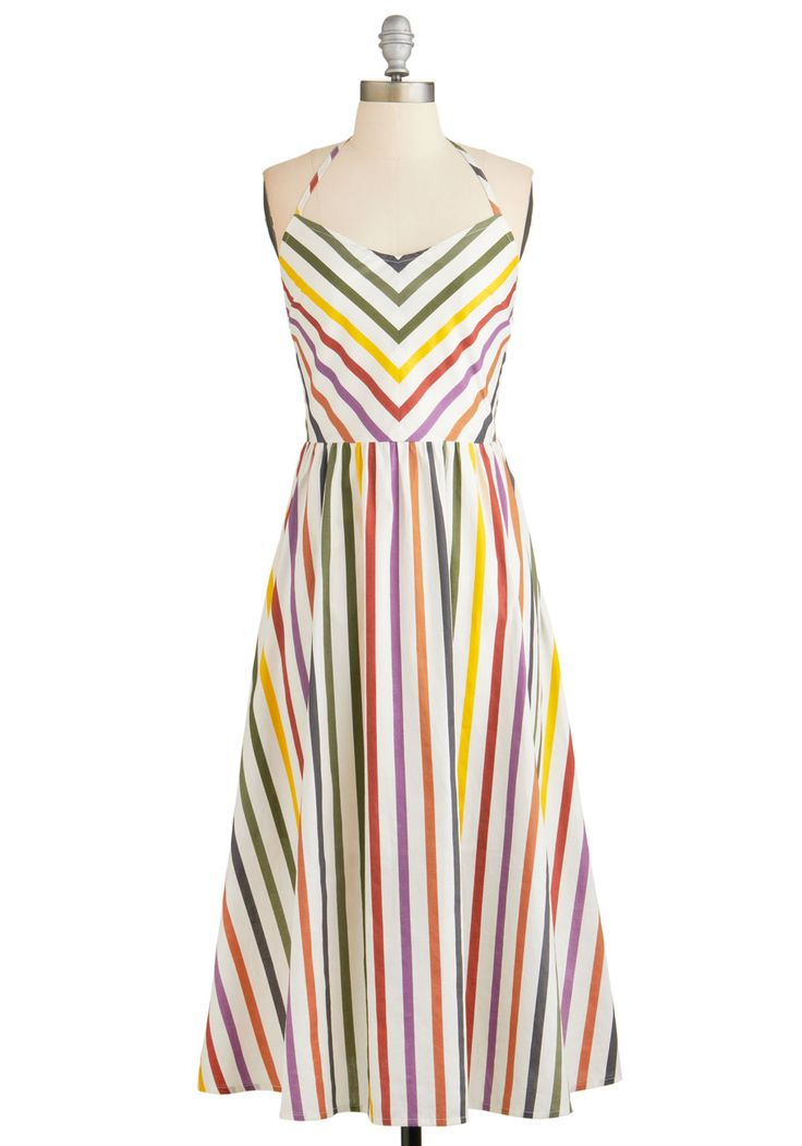 Some Flair Over the Rainbow Dress. When youre ready to bring your bright and bubbly spirit with you on your errands, slip on this rainbow striped dress from BB Dakota, available for purchase in May!  #modcloth