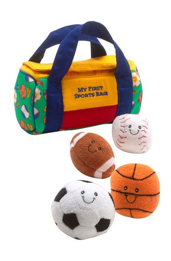 B's first Christmas gift? Sports bag.