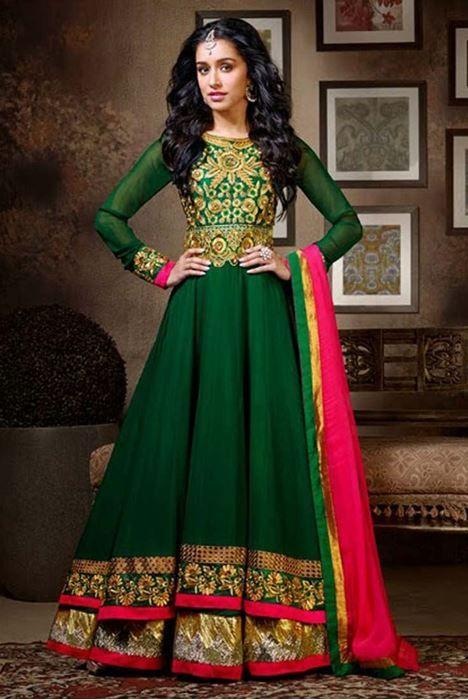 Shraddha Kapoor Green Georgette Anarkali Suit