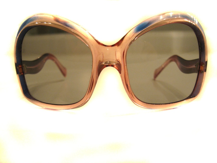 Vintage 1970's French Two-Tone Peach & Royal Blue Large Butterfly Womens Sunglasses