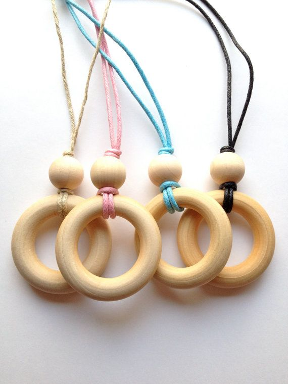 Simple Natural Wood Teething Necklace / Nursing Necklace on Natural Hemp Necklace (Adjustable) - SHIPS FREE with any other item