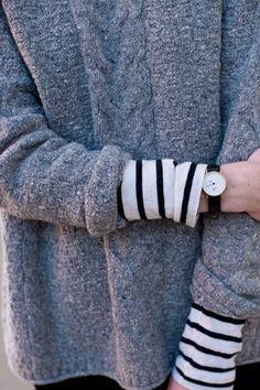A bit of stripe - layering cuffs   Grey jumper   Breton
