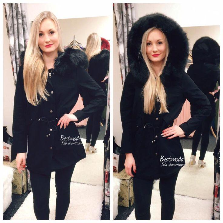 Black parka jacket with fur