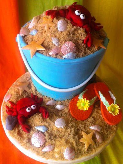 Beach Bucket Cake! Gumpaste Flip flops, fondant crabs, shells, & rocks. Sand is a mixture of graham crumbs & golden yellow sugar. Hope you like it!