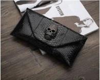 Faux Snakeskin Skull Evening Bag