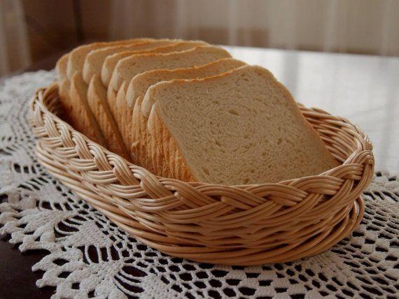 Wicker bread basket / tray / platter by Foxtrade on Etsy