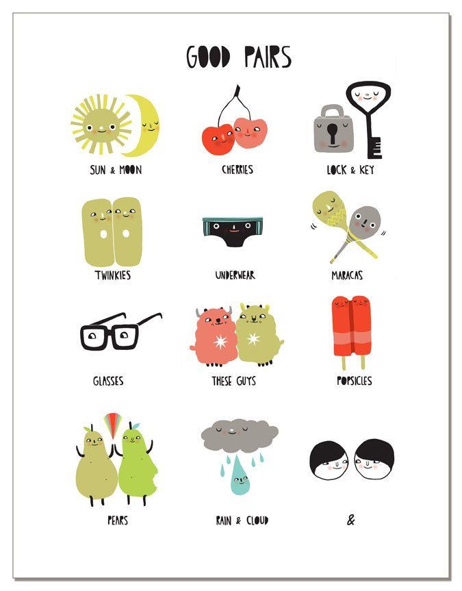 Good Pairs greeting card. 4.00, via Etsy. Illustration