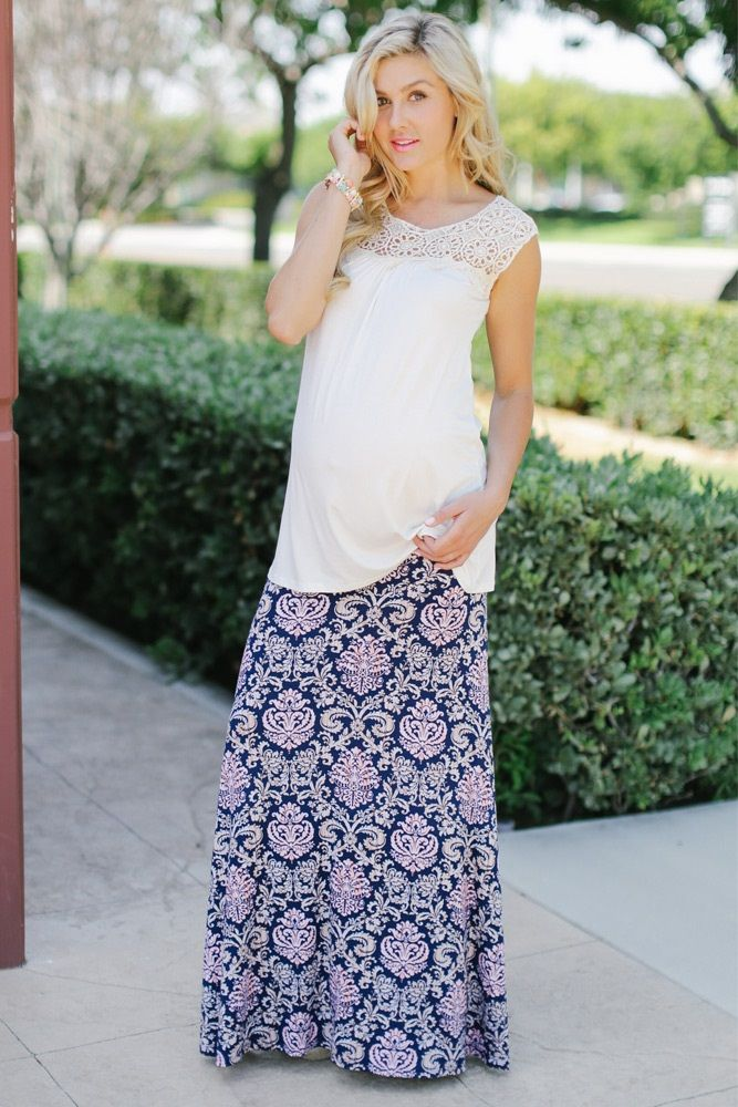 Navy Beige Pink Damask Printed Maternity Maxi Skirt from PinkBlush Maternity www.pinkblushmaternity.com #maternity #fashion