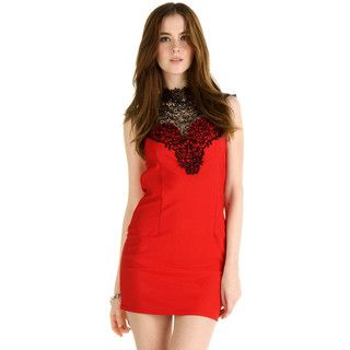 Lace Bib Tie-Neck Cocktail Dress from #YesStyle