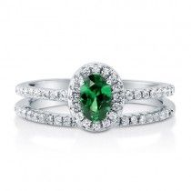 Oval Emerald CZ 925 Sterling Silver 2-Pc Halo Wedding Ring Set 0.43 Ct