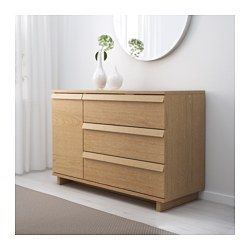 IKEA - OPPLAND, 3-drawer chest with 1 door, oak veneer, , The natural grain pattern and rich texture of the wood are accentuated by first brushing the oak veneer then sealing it with a matt lacquer finish.Drawers with integrated dampers close slowly, silently and softly.The concealed drawer runners ensure that drawers run smoothly even when heavily loaded.You can move the shelves and adjust the spacing according to your personal needs.