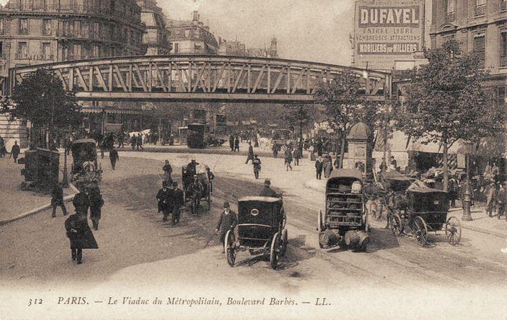 Le viaduc du Métropolitain Barbès au carrefour avec le boulevard Magenta, vers 1900.