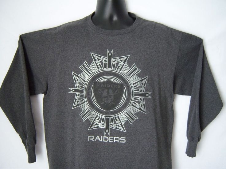 RARE! OAK Raiders Men's XL T-shirt Long Sl Dark Gray Football NFL Cotton Polyester #NFLTeamApparel #OaklandRaiders
