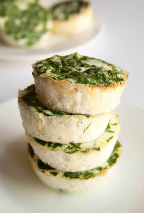 Spinach Feta Egg White Cups. Make this healthy protein rich breakfast ahead of time and have a hot breakfast ready to go when you are!