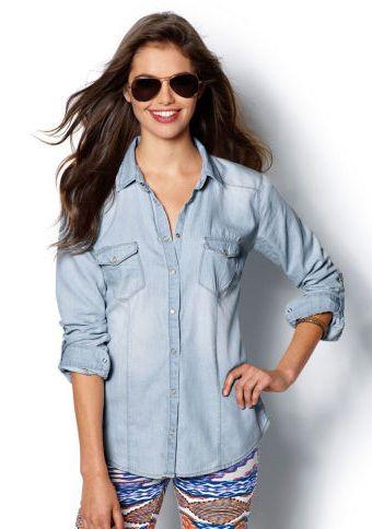 Džínová košile s dlouhými rukávy #ModinoCZ #jeans #blue #trendy #style #fashion #moda #moda #denim #kosile #shirt