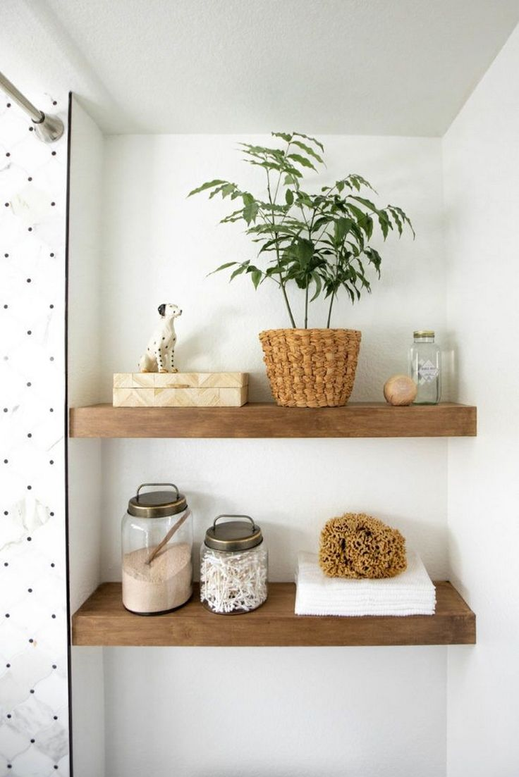Floating Shelves above Toilet in Small Bathroom   – bathrooms