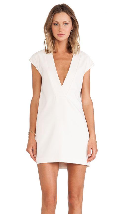 Deep V white dress #minimalist #fashion #style
