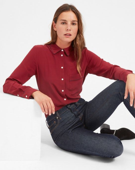 The Piped Silk Pocket Shirt - Everlane