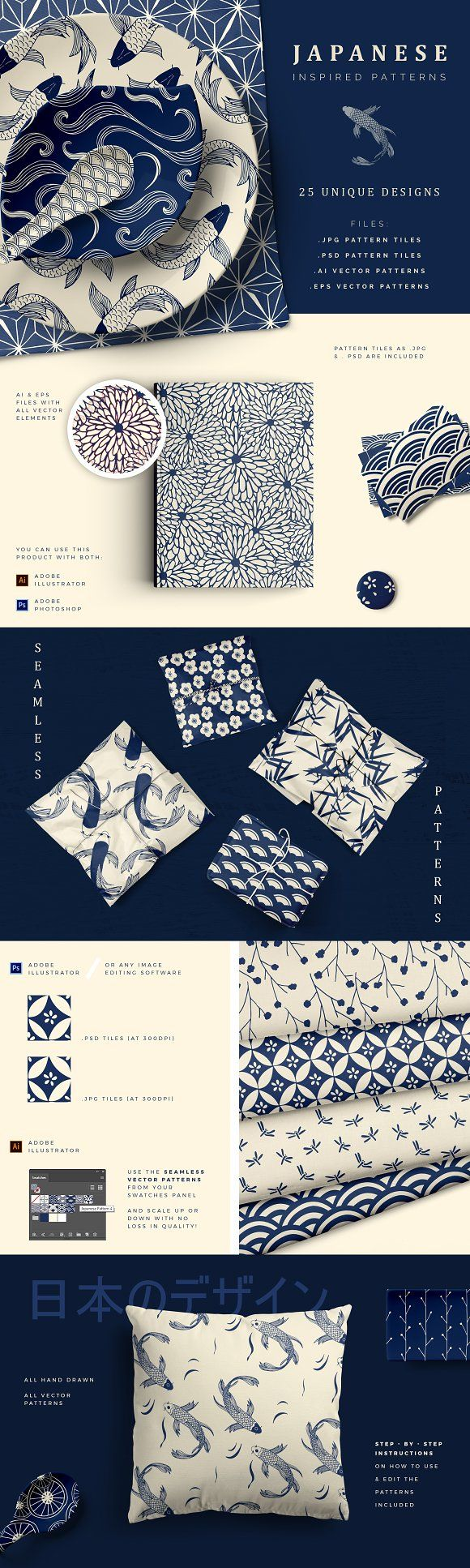 Japanese Patterns by Youandigraphics on @creativemarket