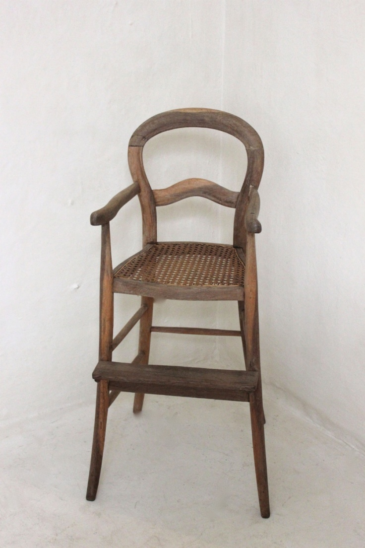 Country crafted wooden chair and stool ebth - Antique High Chair