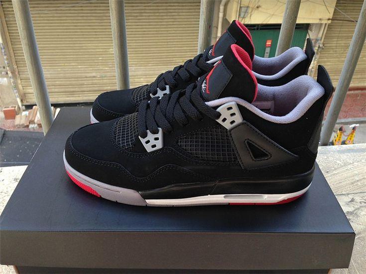 Nike - Air JORDAN 4 IV RETRO BRED rouge blanc noir Chaussures ...