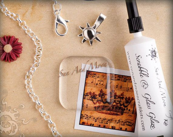 Glass Tile Pendant Kit - 20pc DIY KIt and Collage - Mix and Match Different Color Finishes on Rolo Necklaces and Bails.
