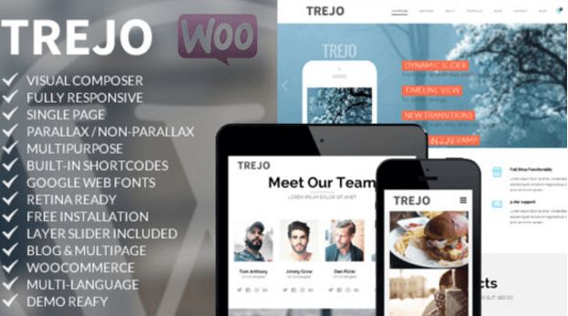 Download Free Trejo v1.0 Responsive One Page WP Theme