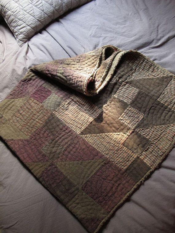 Antique Wool Quilt / Brown and Plum Early Quilt / Patchwork Quilt / Primitive Quilt / Wool Quilt / 1800s quilt / Like the selection of  browns.
