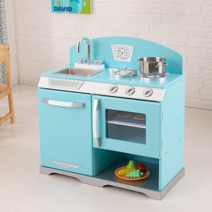 Kidkraft Blue Retro Stove Kids Wooden Play Kitchen Kidkraft Kitchen In Blue