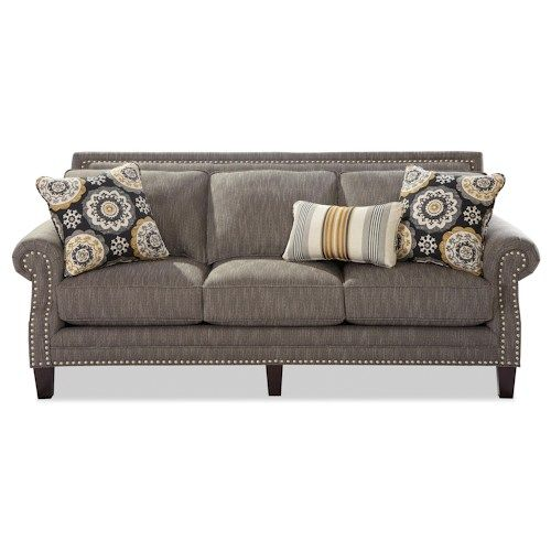 Craftmaster Nichols Transitional Sofa with Pewter Nailheads - our sofas