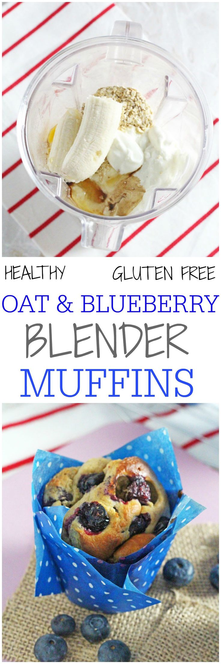 Delicious and super healthy, these gluten free Oat & Blueberry Blender Muffins are so easy to make and nutritious enough to have for breakfast! My Fussy Eater blog
