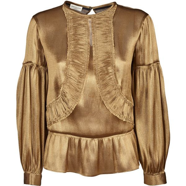 Dries Van Noten Flared Hem Blouse (€397) ❤ liked on Polyvore featuring tops, blouses, gold, brown tops, flare tops, long sleeve blouse, gold long sleeve top and round neck top