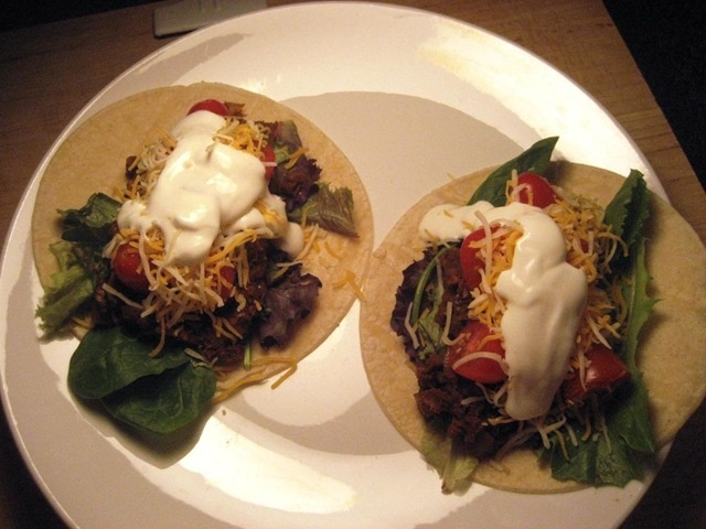 Spiced Lentil Mushroom Tacos - great idea for the meat. Omit cheese ...