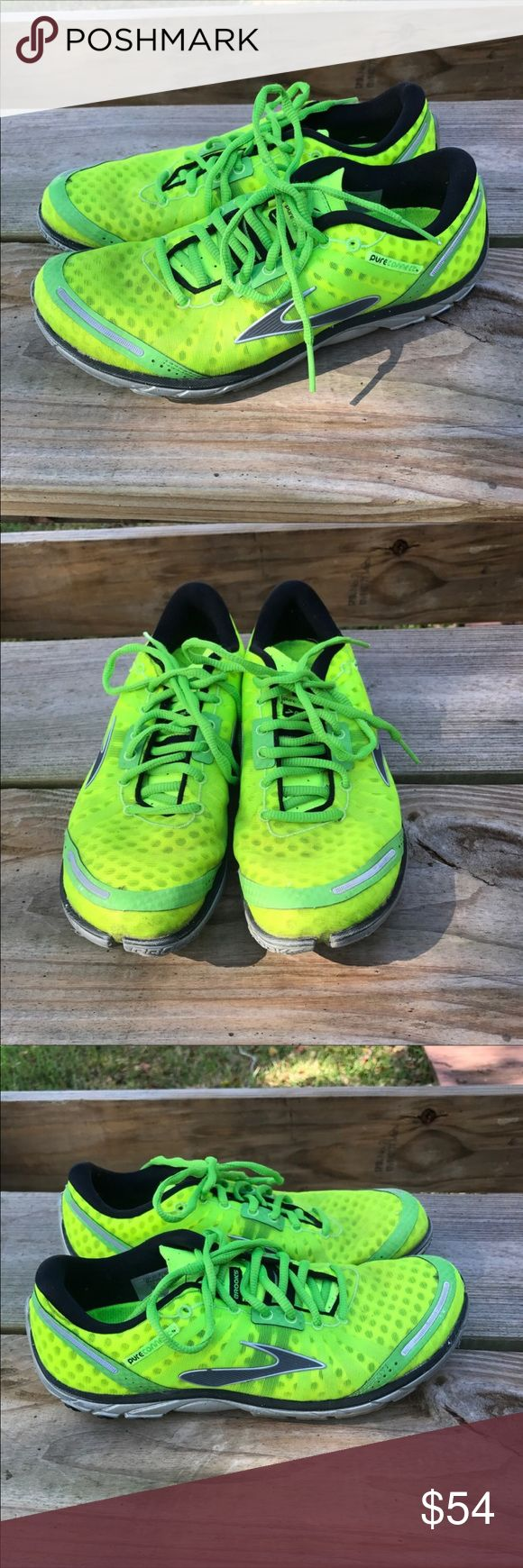 Brooks Pure Connect neon running shoes sz 10 Brooks Pure Connect neon running shoes in a size 10. Lots of wear left. I've taken a pic of the tread and everything is as pictured. Brooks Shoes Sneakers