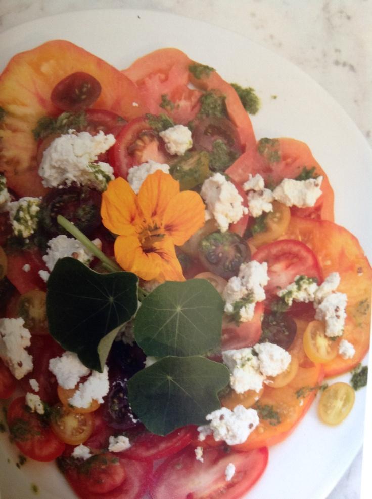 Thousand-tomato salad with homemade goat's milk ricotta and coriander & basil, Homemade Yvette Van Boven