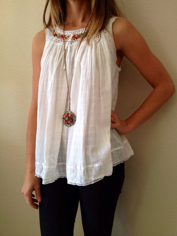 Mexican Manta Blouse w/Crochet Ribbon and by shopvintageclectic, $14.00