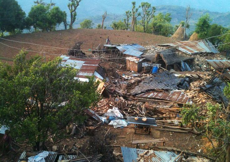 Picture of houses destroyed by an earthquake in Gorkha, Nepal