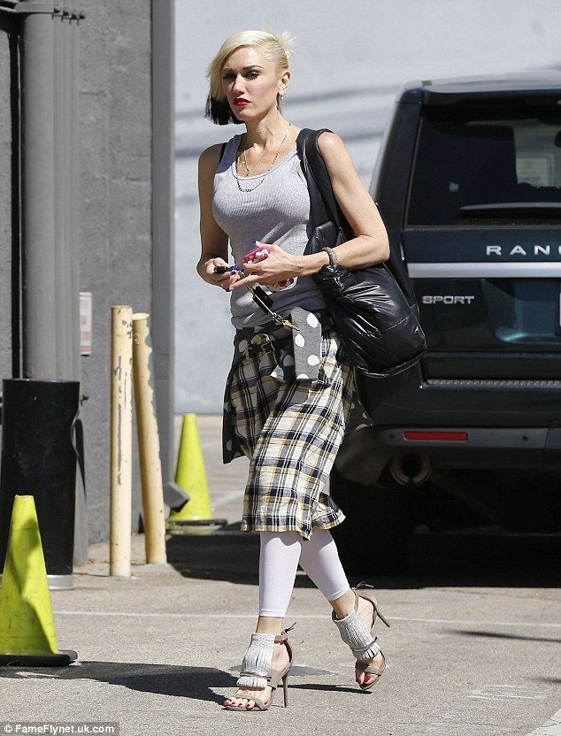 Eccentric: Gwen Stefani showed off her unique style on Thursday as she stepped out in Sant...