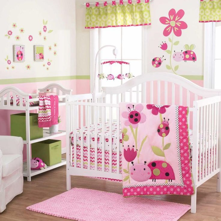 Ladybugs And Flowers With Pink Polka Dots Girls 3 Pc Nursery Crib Bedding Set
